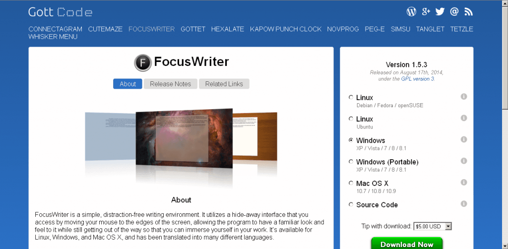 Free software for writers - Focuswriter