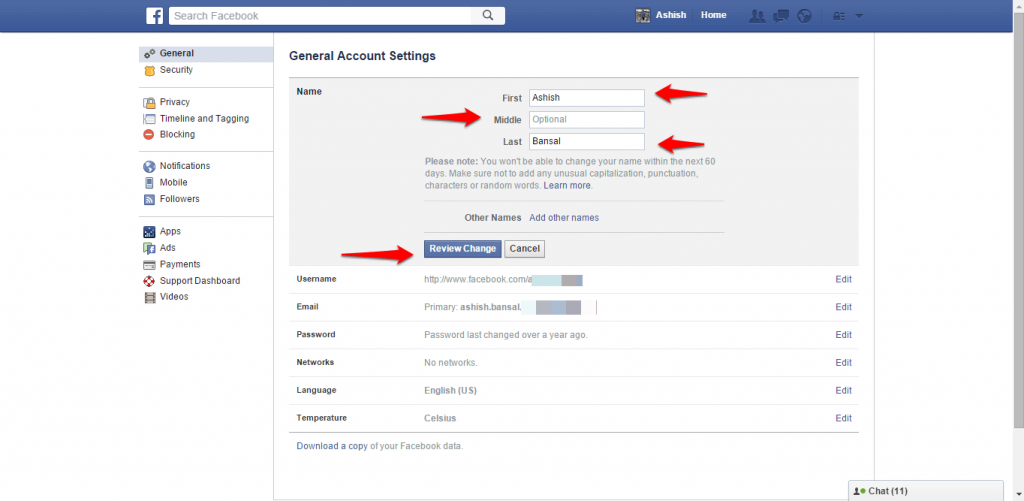How to change name and other particulars in Facebook - image 4