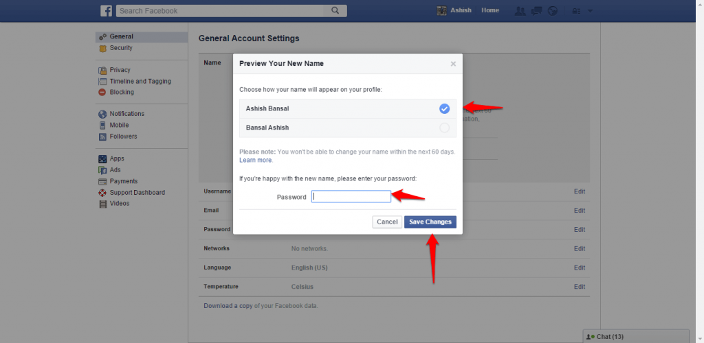 How to change name and other particulars in Facebook - image 5