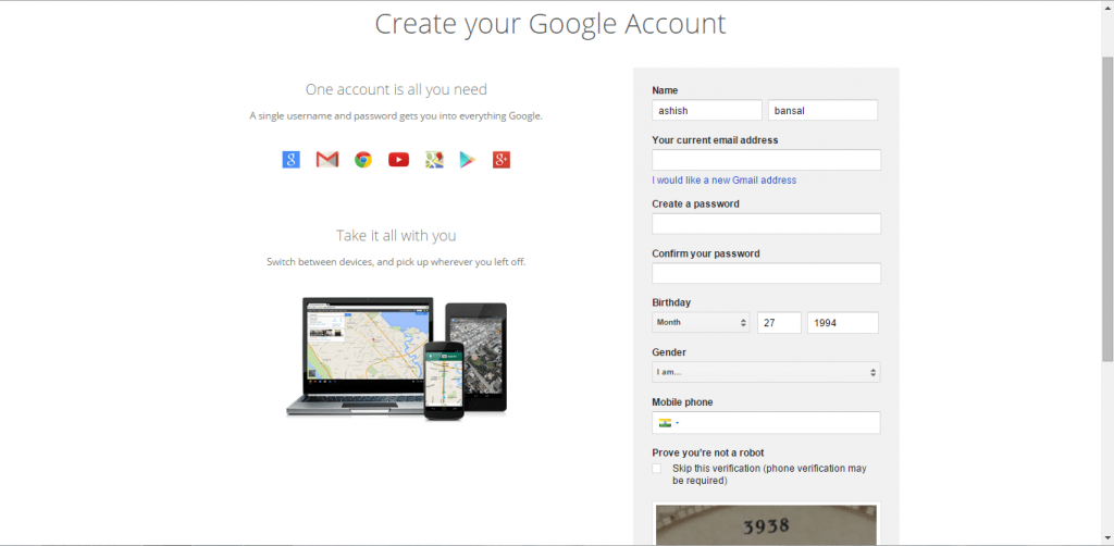 Create Google Account without Gmail-1