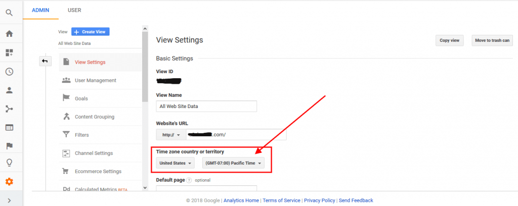 change the timezone settings in Google Analytics
